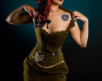 British Military corset & skirt for steampunk/ diesel punk/ army/ costume/ cosplay. MADE TO ORDER
