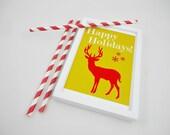Happy Holidays Printable Print -Christmas, Hanukkah Digital Art Holiday Decor