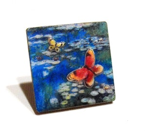 Monet Water Lillies Inspired Ring - Adjustable, Wide Ring Base, Wood Anniversary Gift, Butterflies, Ready to Ship, Sale - Now Marked 40% OFF