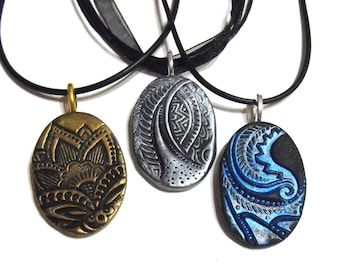Three Oval Nature Necklaces with Personalized Engraving on the Back- Choose Your Color & Texture - Black and Gold, Tribal, Leaf, Leaves,OOAK