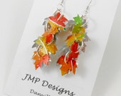 FALLING LEAVES Earrings. Recycled Soda Can Art. Mango Orange. Cluster Earrings.  Dangle & Drop Earrings.