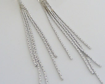 Tassel Earrings - Silver Earrings - Fringe Earrings - Chain Earring - handmade jewelry
