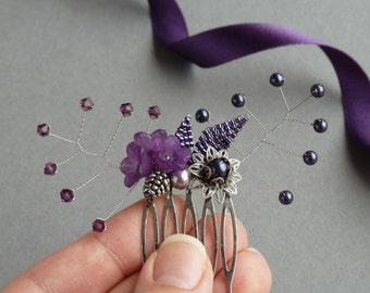 Purple Hair Comb - Floral Accessories - Eggplant and Lilac Flower Hair Comb - Royal Purple Bridesmaid Hair Slides