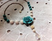 Romantic elegant blue bamboo coral rose flower white round smooth shell beads howlite  sparkling rhinestone drop necklace