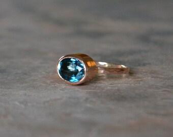 Oval London Blue Topaz Solitare Stack Divorce Ring in solid 14K Rose Gold