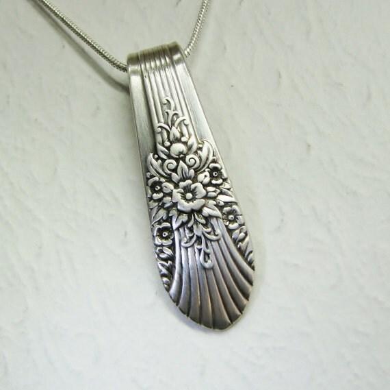 Vintage Spoon Pendant, Silverware Jewelry, 'Marigold' 1939