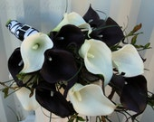 Wedding Bouquet real touch dark plum black white calla lily Bridal bouquet Damask wedding flowers