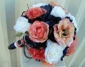 Wedding bouquet coral navy white rose bridal bouquets