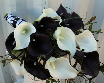Wedding Bouquet, Real touch plum black white calla lily Bridal bouquet, Damask wedding flowers