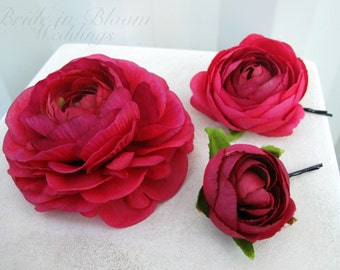 Wedding hair pins Set of 3 Hot pink hair flowers