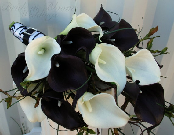 Wedding Bouquet Real touch plum black white calla lily Bridal