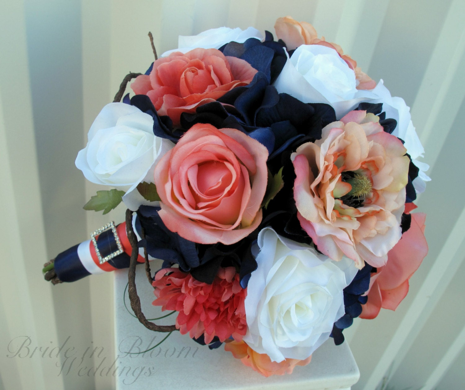 Coral And Pink Wedding Flowers: Wedding Bouquet Coral Navy And White Rose Bridal Bouquets