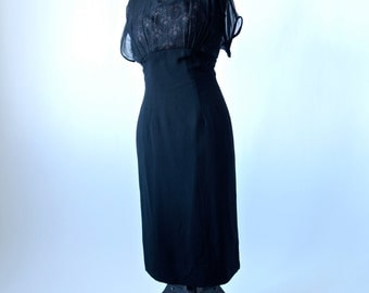 50's/60's Dress Black Crepe and Lace Wiggle  Dress With Illusion Neckline 28 inch waist