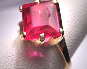 Antique Ruby Ring Vintage Wedding 14K Art Deco 1950