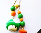 1-Ups Ceiling Fan/ Light Pulls, Green Mushroom Fan Pull, Decorative Fan Pull, The Game Collection