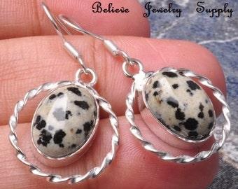 DALMATION / DALMATIAN JASPER Earrings Genuine Gemstone Earrings Sterling Silver Earrings Handmade Jewelry Silver Twisted Hoop Earrings