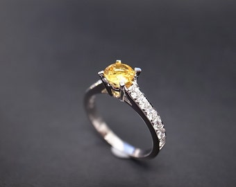 Yellow Sapphire and Diamond Engagement Ring in 14K White Gold, Yellow Sapphire Ring, Yellow Sapphire Engagement Ring, Diamond Wedding Band
