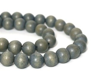 Grey Wood Beads 12mm round, eco-friendly wooden beads (921R)