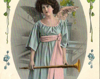 Antique Tinted Photo Postcard - Edwardian Angel Girl in Pink and Blue with Horn - Forget Me Not Flowers
