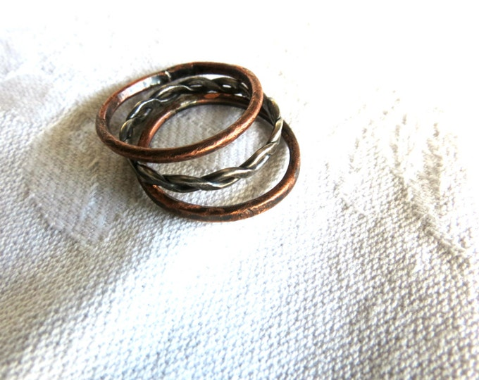 Rustic Skinny Band Trio Slim Band Ring Stackable Wedding Rings Copper and Silver Ring Handmade Gift