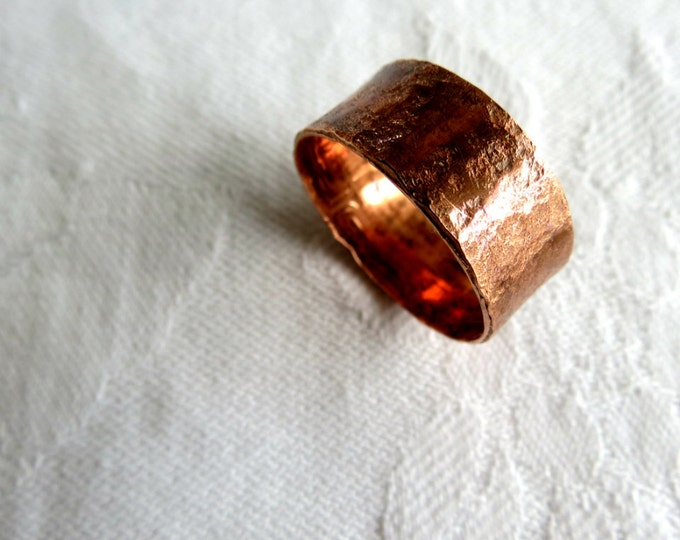 Wide Copper Ring, Rustic Ring for Man, Rustic Wedding Ring, Gift for Him, Guys Ring, Sand Texture, Fashion