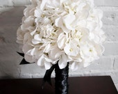 White Hydrangea Wedding Bouquet - White and Black Hydrangea Bouquet