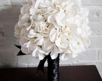White Hydrangea Wedding Bouquet - White and Black Hydrangea Bouquet