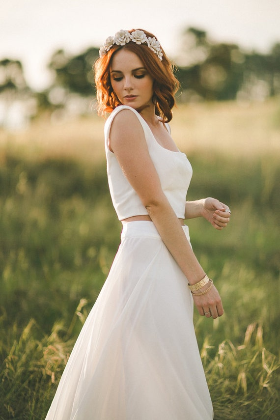 Items similar to two piece wedding gown crop top and for Wedding dress skirt and top