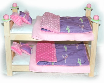 Double Doll Bunk Bed - Gymnastics American Made Girl Doll Bunk Bed - Fits 18 inch dolls and AG dolls