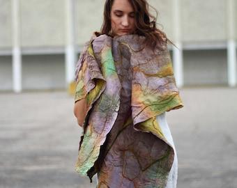 Huge oversized extra chunky scarf. Textured nuno felted scarf OOAK handpainted silk wool scarf nunofelting