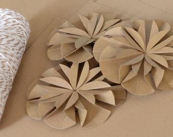 Paper Flower Bows, Kraft Card Stock Embellishments, Rustic Gift Wrap, Kraft Paper Flowers, Reusable Christmas Bow