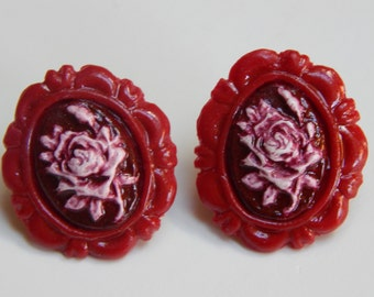Rose cameo Earrings Classic/Gothic Lolita Available in red, pink, purple, blue, green, and black