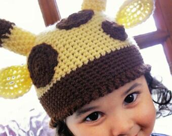 12 to 24m Giraffe Hat Jungle Safari Hat Baby Giraffe Beanie - Crochet Jungle Animal Baby Hat Yellow Brown Baby Giraffe Hat Christmas