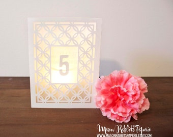 Eloise Vintage Wedding Table Numbers, Table Markers, Luminaries, Table Decor, Wedding Table Markers