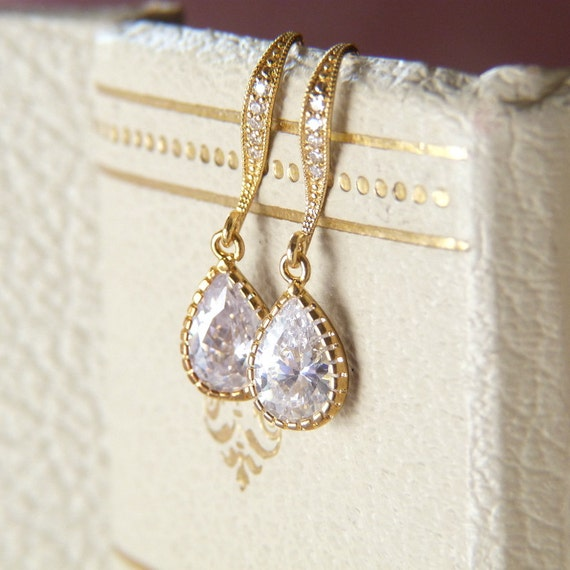 Cubic Zirconia Pear Drop on 14K Gold Plated Hooks Earrings