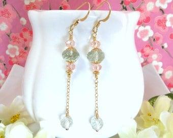 Pink and green gold dangle earrings, green amethyst pink Swarovski crystal dangle earrings, quality pink and mint green gold drop earrings