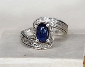 Australia Sapphire Silver Ring, Hammered Silver Cocktail Ring, Handmade Jewelry, 'The Hunting Blue'