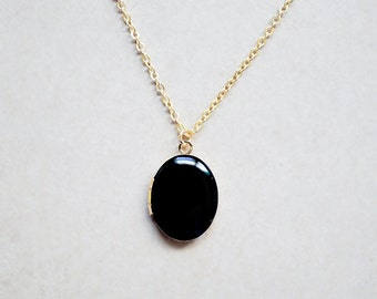 Gold Locket - Black Enamel Pendant - Photo Charm Necklace