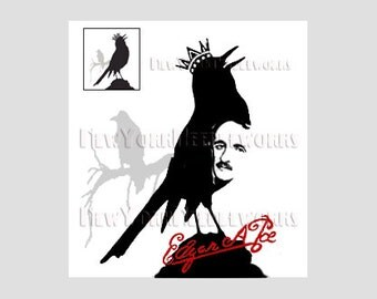Poe and Crow Abstract Pattern, Edgar Allan Poe, Cross Stitch, Poe Cross Stitch, Crows, Abstract Cross Stitch from NewYorkNeedleworks on Etsy