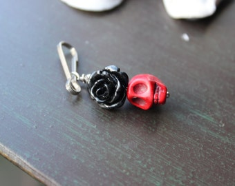 Sugar Skull and Gothic Rose Zipper Pull Charm
