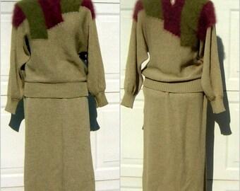 Fuzzy Angora Sweater Dress 2 Piece Set Size Medium - Vintage 1980s