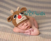Newborn Rudolph  Reindeer hat ... reindeer hat.... baby hat... photography prop... Newborn photo prop...20% off with code VALEN1 at checkout