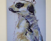 Christmas Meerkat Card Greeting Card From my Original Watercolour Painting