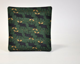 Coaster Fabric Coasters Mug Rug Moose Green and Black  Set of 6  Reversible Man cave