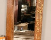 SALE Reclaimed Distressed Mahogany and Goldenrod Rustic Indian Antique Wood Frame Mirror