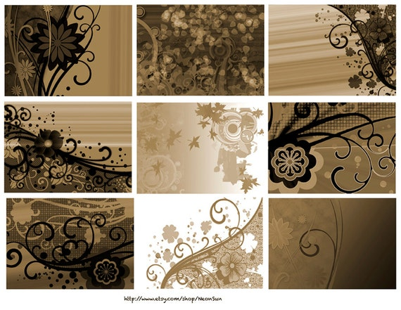Sepia Florals ATC Backgrounds, INSTANT DOWNLOAD, Collage Sheet, Leaves, Flowers, Circles