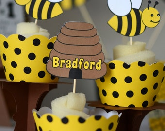 Bumble BEE Baby Shower, Bumble Bee First Birthday Decoratons CUPCAKE TOPPERS, Honey Bee Party Decorations, Bug Theme Birthday