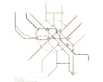 8x10 Moscow Subway Map