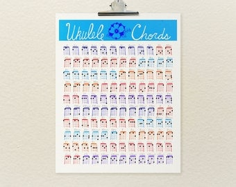 Ukulele Chords // Art Poster Print, Digital Print, Giclee, Illustration, Musical Instrument, Music Education, Art for Musicians, Ukulele