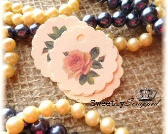 12 Vintage Rose Tags, Scalloped Circle, Tea Rose, Tag, Labels, Sale
